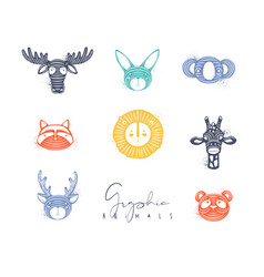 animals authentic graphic color vector image