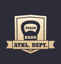 Athletic department gold emblem with kettlebell vector