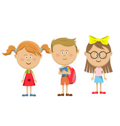 Back to school friends girls with boy standing vector