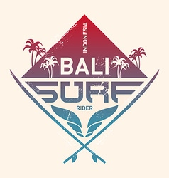 Bali surf rider Indonesia Surfing vintage label vector image