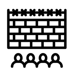banned people behind fence icon outline vector image