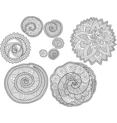 beautiful set with round arts for coloring book vector image