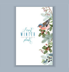 bird winter border vector image