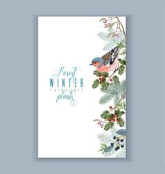 Bird winter border vector