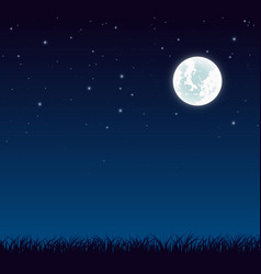 Blue dark night sky with full moon and lot of vector