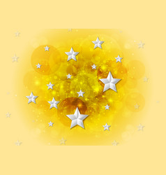 bright yellow shiny background with stars vector image