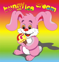 Bunny ice cream pink vector