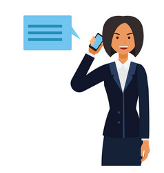 business ceo woman making phone call cartoon flat vector image