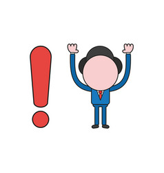 Businessman character with exclamation mark color vector