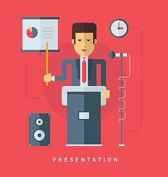 Businessman Giving a Presentation Flat Style vector image