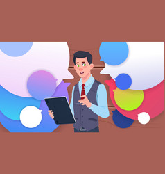 businessman holding tablet speak over colorful vector image