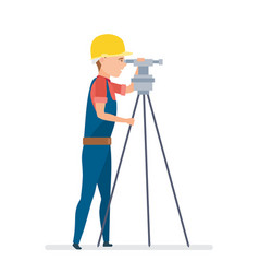 cadastral engineer conducting land expertise vector image