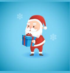 Christmas funny santa claus holding gift box vector