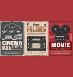 Cinema movie film reel projector video tapes vector