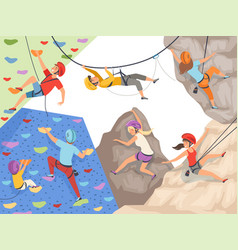 climb characters extreme sport cliff wall rocks vector image