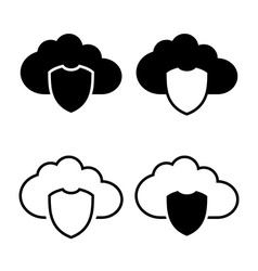Cloud with shield icon vector image