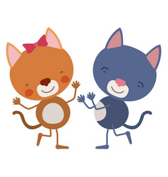 Colorful caricature with couple of kittens dancing vector