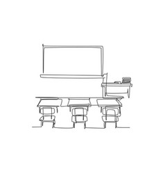 Continuous one line drawing interior design vector