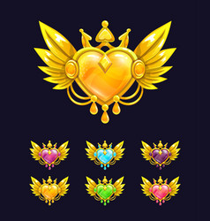 Cool decorative heart with golden wings and crown vector