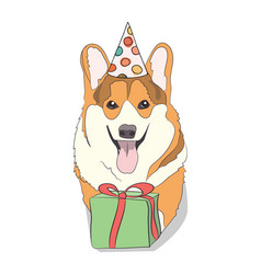 corgi with a gift congratulations happy birthday vector image