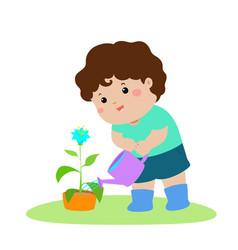 cute cartoon boy watering plant vector image