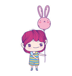 Cute little boy cartoon with balloon shaped rabbit vector
