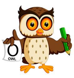 Cute owl writing vector