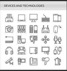 devices icons set in thin line style isolated vector image