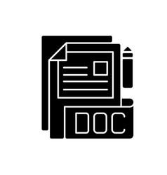 Doc file black glyph icon vector