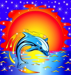 Dolphin Sunset Background vector