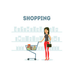female buyer shopping at supermarket with cart vector image