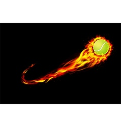 Fire burning tennis with background black vector