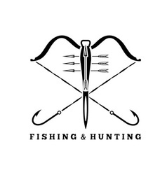 Fishing and hunting concept with hooks and vector