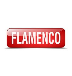 Flamenco red square 3d realistic isolated web vector
