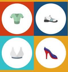 flat icon garment set of sneakers brasserie vector image