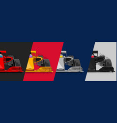 four racing cars in different colors split vector image
