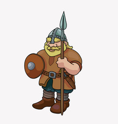 Funny barbarian viking blond with spear vector