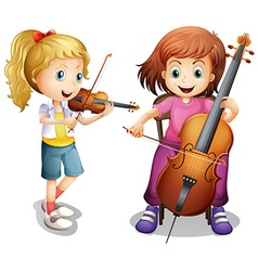 Girls playing violin and cello vector