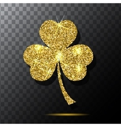Glitter object Clover for patrick s day design vector image