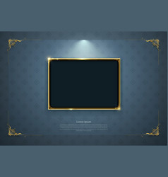Gold frame border picture retro art vector