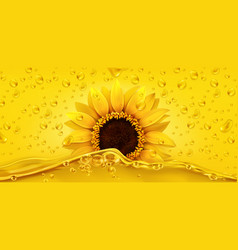 golden drops sunflower oil 3d realistic vector image