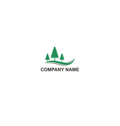 green pine tree mountain company logo vector image