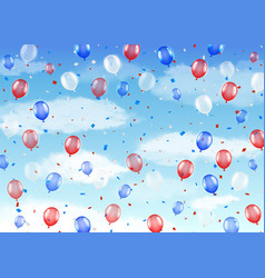 group red blue white helium balloons on a sky vector image
