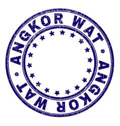 Grunge textured angkor wat round stamp seal vector