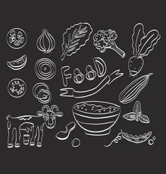 healthy food set icon vector image