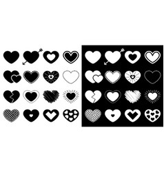 heart big icon set different shape arrow dash vector image