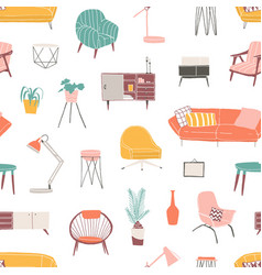 Home decor and accessories hand drawn seamless vector