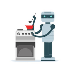 Housemaid android character cooking food vector