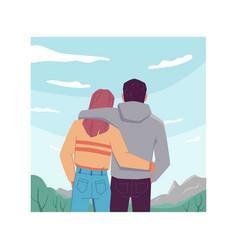 Hugging couple sky landscape background back view vector