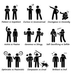 Human personalities opposite values positive vs vector
